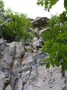 Rock Climbing Photo: View of the route from the base of the climb with ...