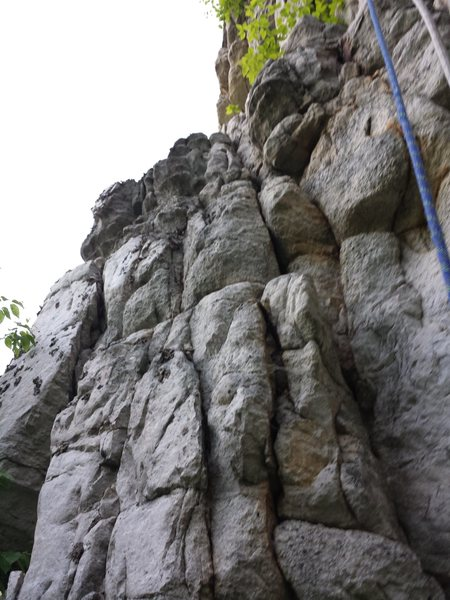 Rock Climbing Photo: view of the start of the climb from the lower ledg...