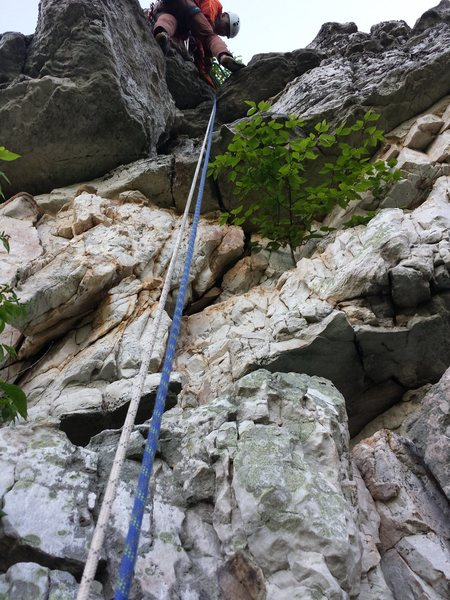 Rock Climbing Photo: View looking up at the top of the climb