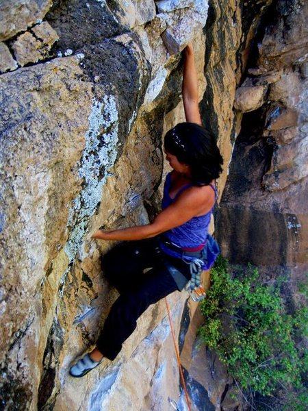 Rock Climbing Photo: Helen warming it up on New River.