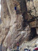 Rock Climbing Photo: Sticking the crux.  Burly climb.