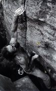 Rock Climbing Photo: Sammy F and the crux of Ice Pick. 1999