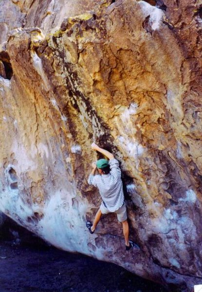 Eric Zschiesche on the Mushroom Bouler, Hueco Tanks 1997.