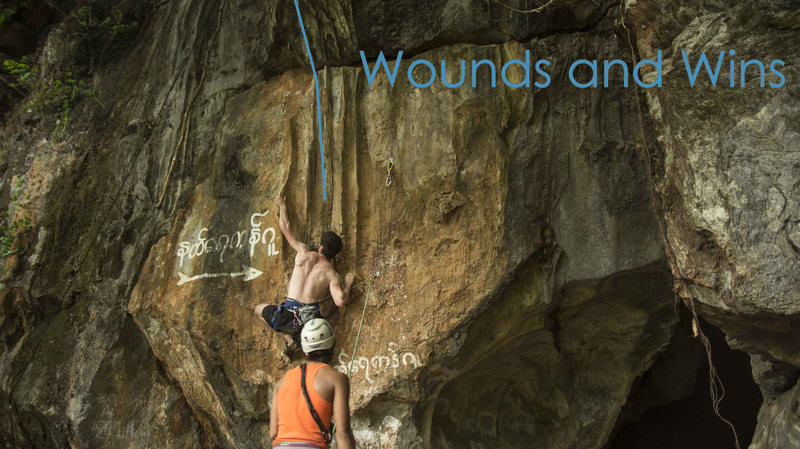 Rock Climbing Photo: Cyrille on the FA of Wounds and Wins