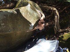 Rock Climbing Photo: Andrew Minik scrambling the FA of the EGG