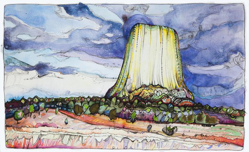 "Devils Tower Script - 22"" x 14"" - pen/ink/watercolor - www.blownminds.blogspot.com"