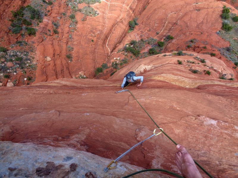 Rock Climbing Photo: Tricky moves with awesome exposure to finish the l...