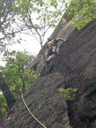 Rock Climbing Photo: Jeremy leading up pitch 3