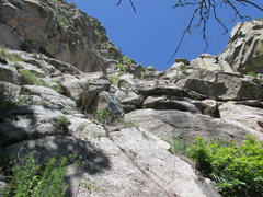 Rock Climbing Photo: View of the start of the route from the gully belo...