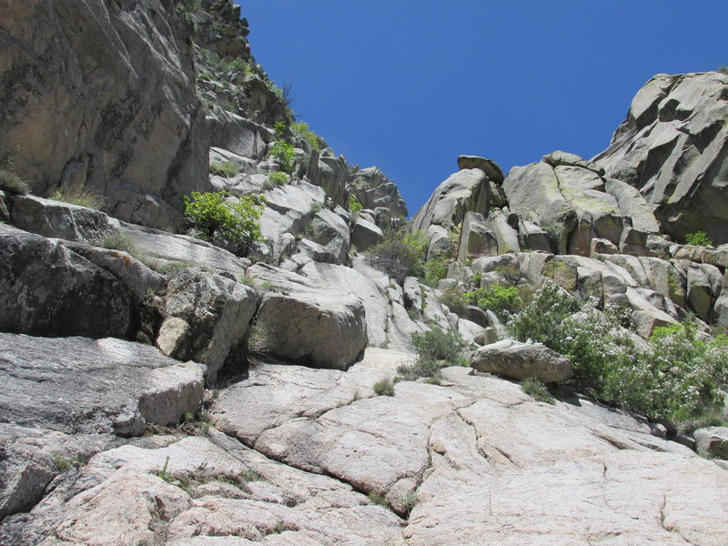 Lower portion of the route from a location just high enough for the broad gully to become visible. Just go up the bottom of it.