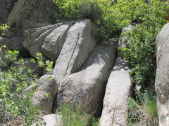 "Rock Climbing Photo: The first crux - the ""jam crack"" mention..."
