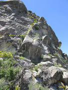 Rock Climbing Photo: Most of the summit pitch as viewed from the saddle...