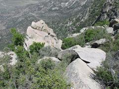 Rock Climbing Photo: Location of a good, clean rap line. Single 60m rop...
