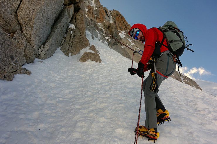 rapelling down Goulotte Chere on the North Face Triangle of Mont Blanc du Tacul