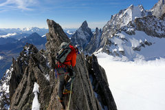 Rock Climbing Photo: exposed crest on Aiguille d'Entreves traverse