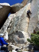 Rock Climbing Photo: I lead the easier route to the left first, then se...