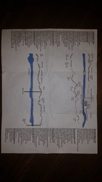 Front side of the map/pamphlet for Crawdad. Not all the routes are labeled on the walls, so it's useful to have this