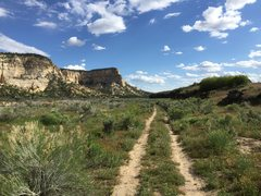 Rock Climbing Photo: Dirt road to the start of the basalt cliffs on the...