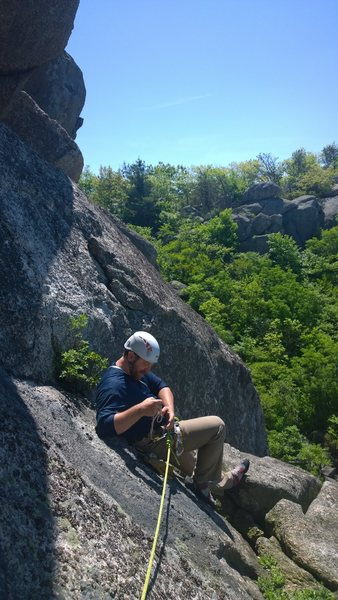 """Rock Climbing Photo: Belay ledge at the top of P1 on """"Pedastal&quo..."""