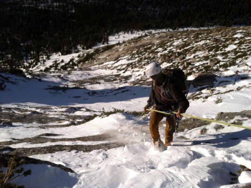 Descending the Muir Route in a drought winter (January 2015).