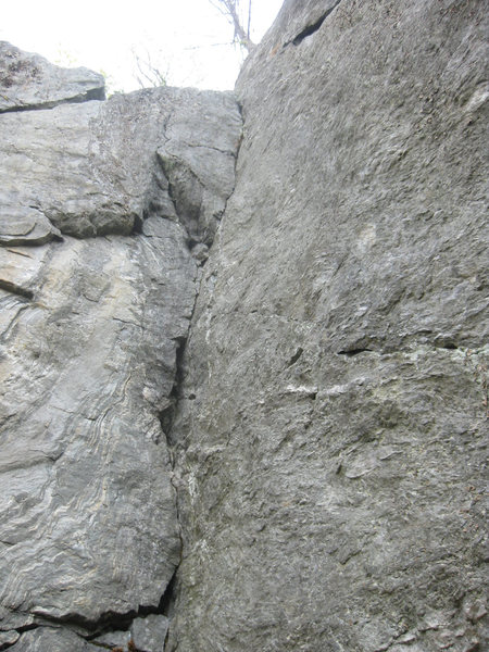 Short route, anchors are way up and over. This is the only good part of the climb.