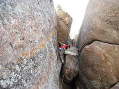 Rock Climbing Photo: Bernie cruises the Box Chimney.