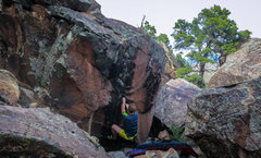 Rock Climbing Photo: Just about to release on the huge deadpoint to the...