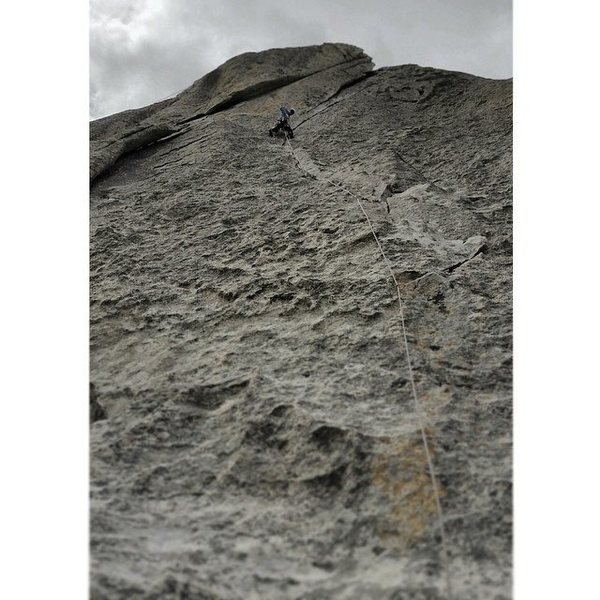 Rock Climbing Photo: Nearing the Crux on Wheat Thin. Great Route