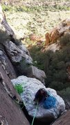 Rock Climbing Photo: Chelsea perched atop pitch one pillar on an ascent...