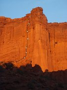 Rock Climbing Photo: Route with topo drawn in