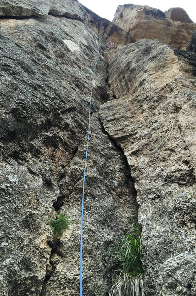 Follow the dihedral for fun stemming and some crack climbing. Enjoy the ledge up top for a great view.