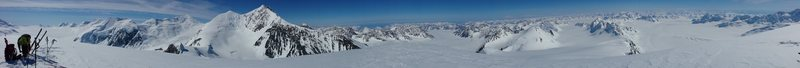 From L to R, 365 deg pano shot from the summit of Mt. Fafnir. The upper Columbia Glacier, Mt. Valhalla, Nelchina Glacier, Science Glacier, lower Columbia Glacier