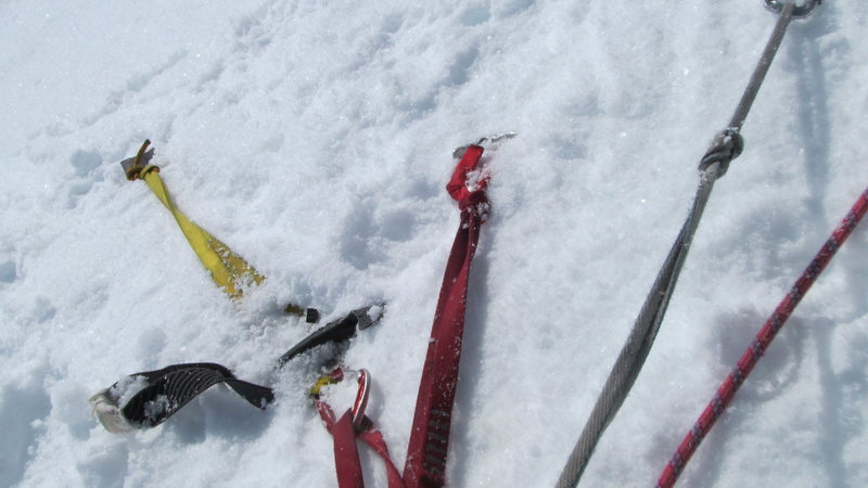 Two pickets, a whippet and an ice axe for an anchor. Bomber!