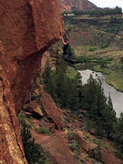 Rock Climbing Photo: Swinging on the jug above the lip.