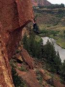 Rock Climbing Photo: Swinging on the jug above the lip.