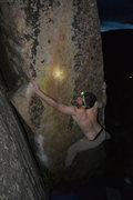 Rock Climbing Photo: Getting my redpoint in the dark.