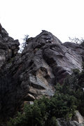 Rock Climbing Photo: The line goes up past 2 bolts on the arête, then ...