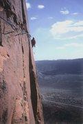 Rock Climbing Photo:  P.Ross on the FA Girdle/Traverse  of Castleton To...