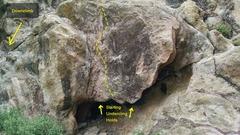 Rock Climbing Photo: Underthang, V1-V2.
