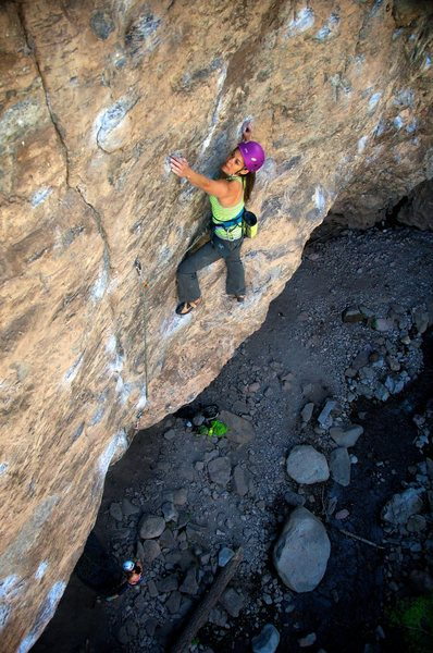 Rock Climbing Photo: Above the crux bulge and into the technical face c...
