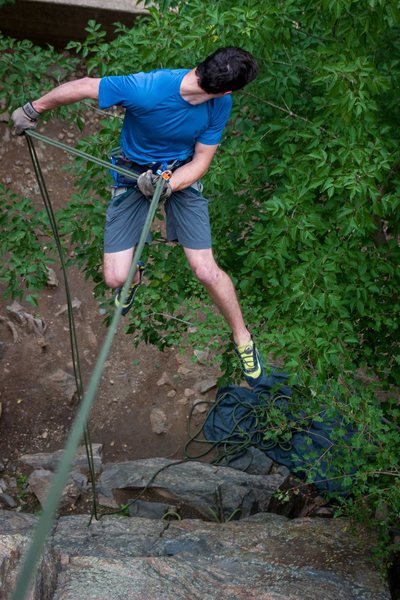 Rock Climbing Photo: Rappelling down from the ledge on top of Gondolier...
