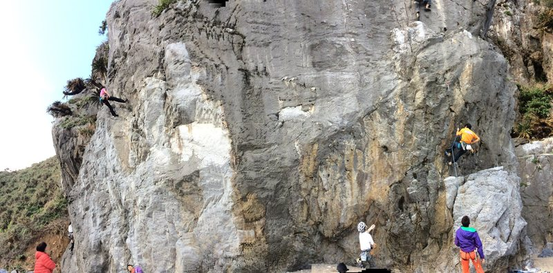 Asa Beach (Cape Hedo) <br> Panoramic photo of the front wall.  Has seven good climbs 5.8-5.10