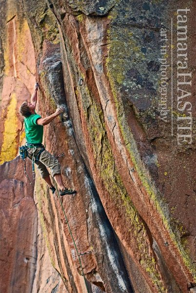 Rock Climbing Photo: Danny Mauz on the FA of Shaman School 5.13-, Middl...