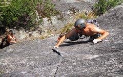Rock Climbing Photo: Kyle leading psychopath var. photo by Steph Abegg
