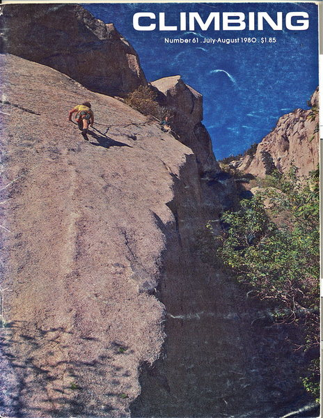 "The route pictured here is ""Dangling Participle"", .11a, which shares the start with Prepositional Phrase; however, that climb heads up and left at the second bolt rather than skirting the drop off seen in the photo. This shot was taken during the FA and that is Jay Wilson (RIP) following. Jay died down in Indian Creek when the one bolt rap anchor he was using failed. Jay was a terrific guy, ad he left behind a wonderful son, Eli, who carried on with the family tradition of seeking wild places."
