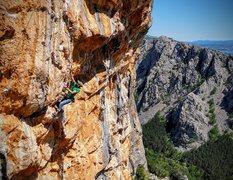Rock Climbing Photo: Manhandling Timon's Tufas