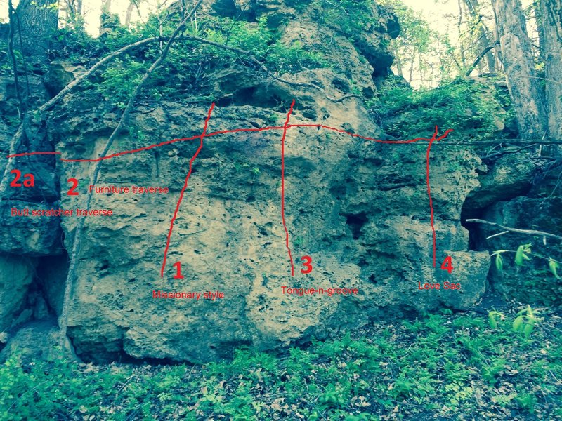 Furniture boulder. All problems are sit-starts except the traverse.
