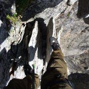 "Rock Climbing Photo: Standing atop ""potato chip flake"""