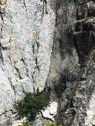 Rock Climbing Photo: climbers at base of potato chip flake. Photo taken...