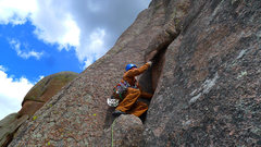 Rock Climbing Photo: Start of the 2nd pitch of Hammer.